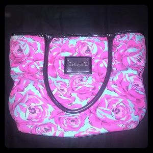 Betsey Johnson teal and hot pink floral bag